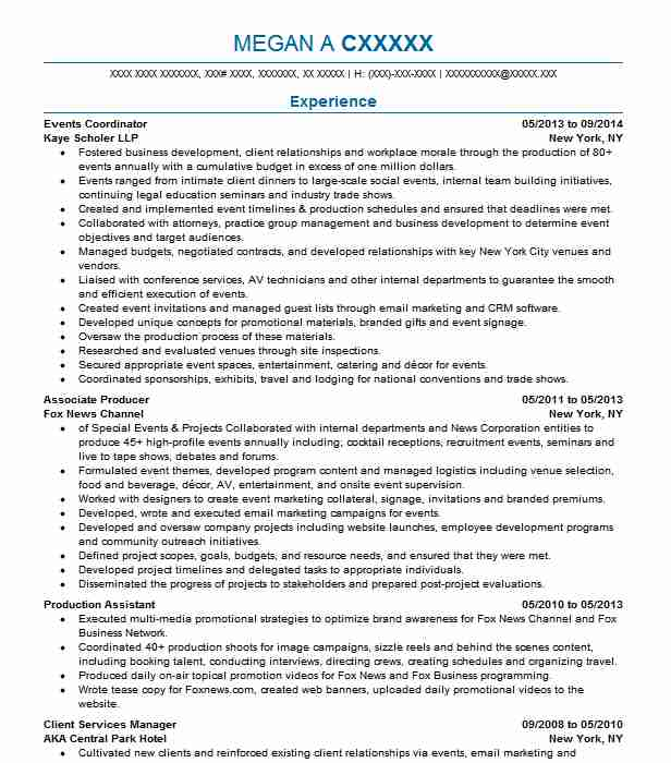 events coordinator resume sample