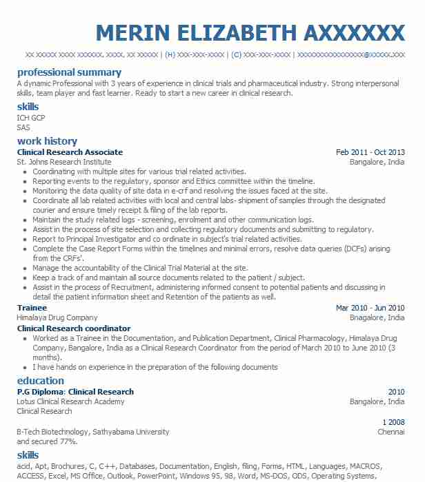 clinical research associate resume sample