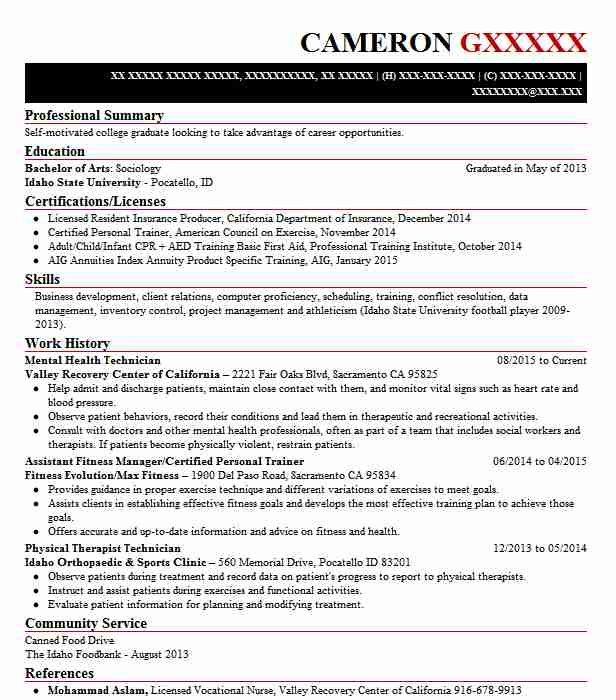 Mental Health Technician Resume Example Valley Recovery Center Of