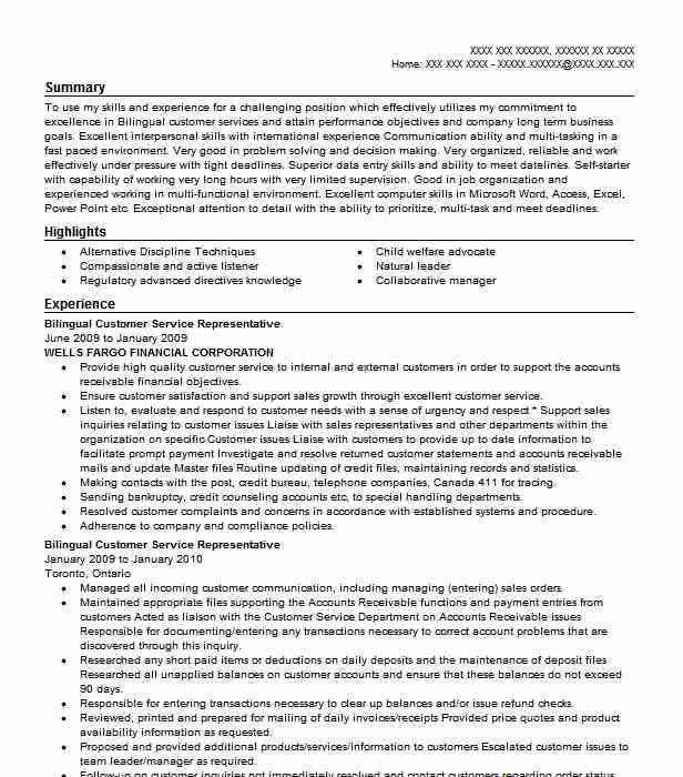 bilingual customer service representative resume example
