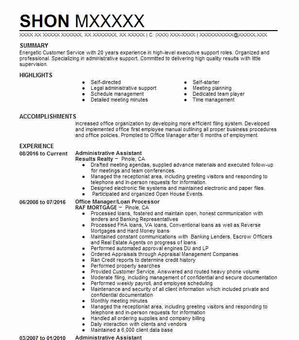270869 administrative support resume examples samples livecareer