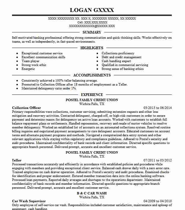 collection officer resume sample