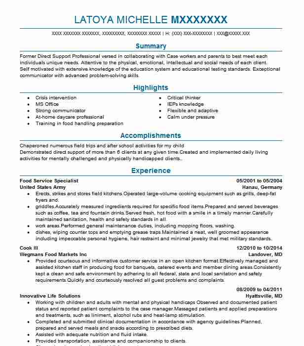 simple food service specialist resume example