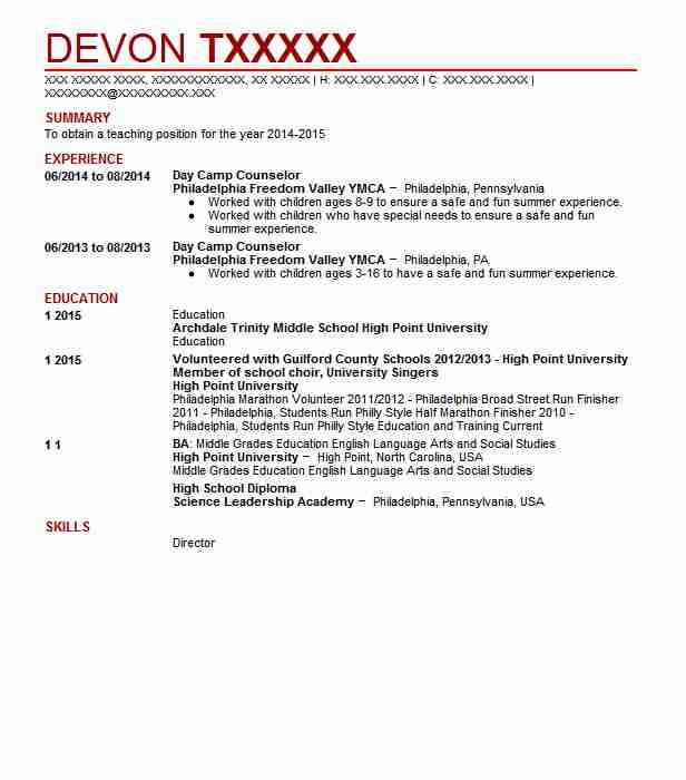 day camp counselor resume sample