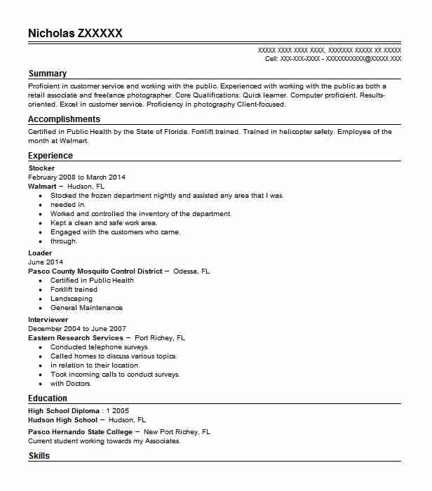Stocker Resume Example Walmart