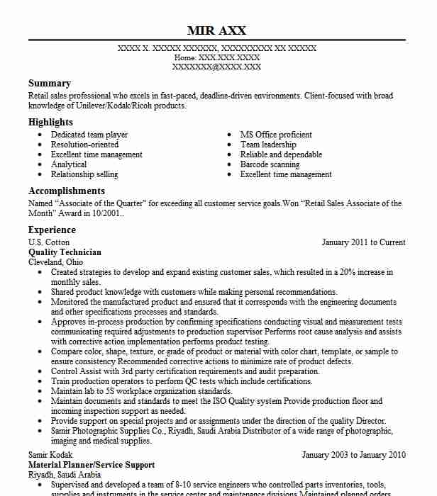 Quality Technician Resume Sample