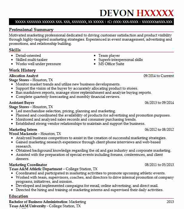 Allocation Analyst Resume Sample | Analyst Resumes | LiveCareer