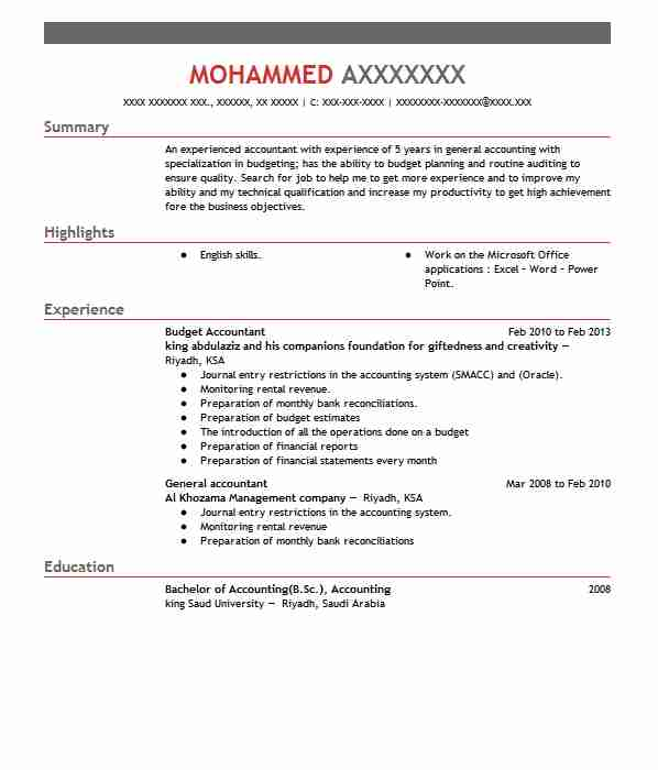 budget accountant resume sample