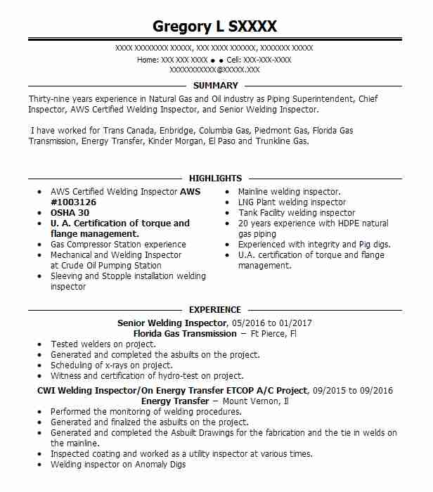 aws certified welding inspector resume example turner industries