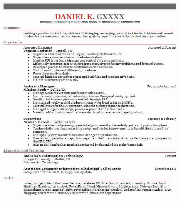 3739 Management Resume Examples