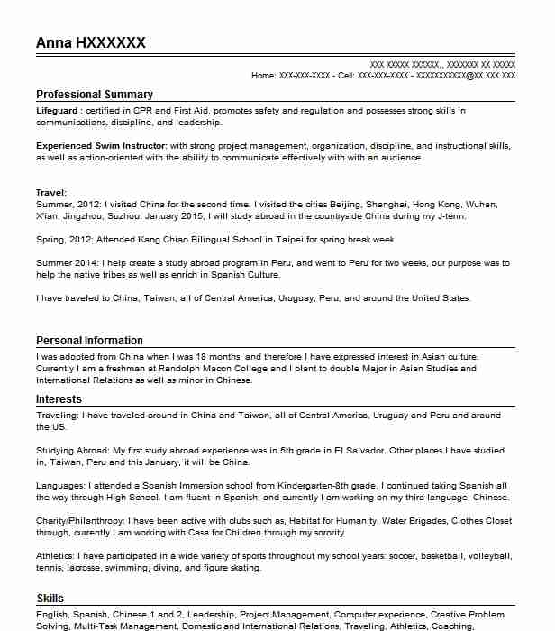 Swim Instructor Resume Sample