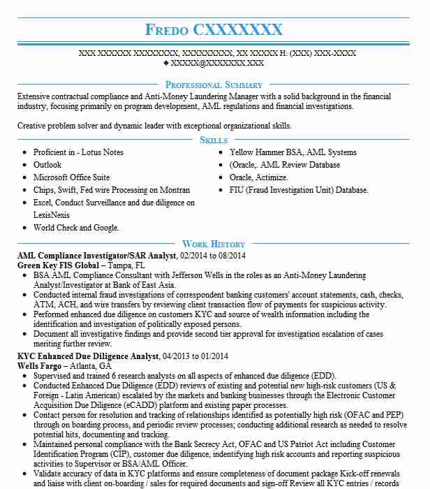 Aml Kyc Compliance Consultant Resume Example State Street