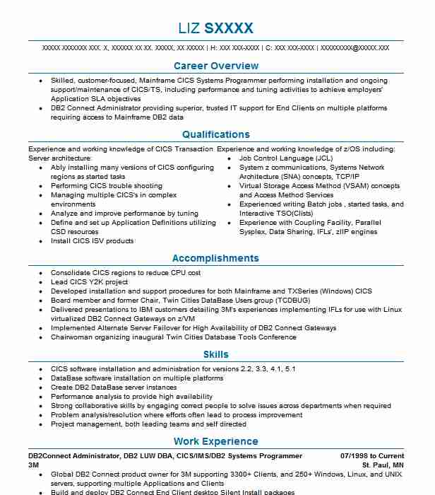 consulting db2 systems programmer resume example bank of