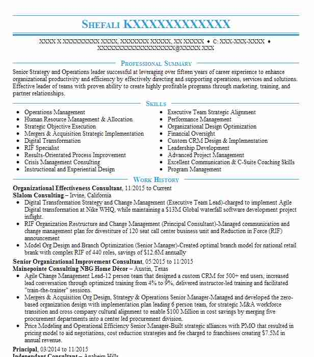 organizational effectiveness consultant resume example