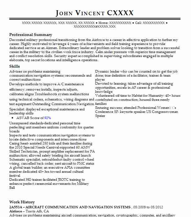 communication  navigation specialist  2a251  resume example