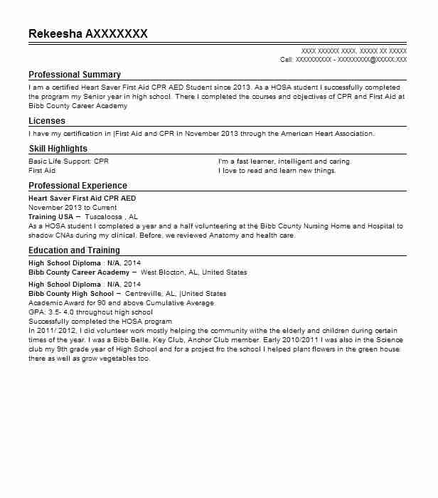 cpr   first aid resume example american red cross