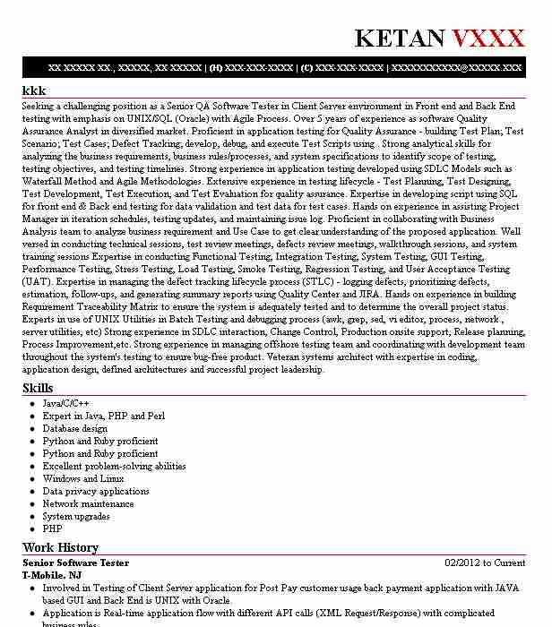 senior software tester resume example reverb networks inc