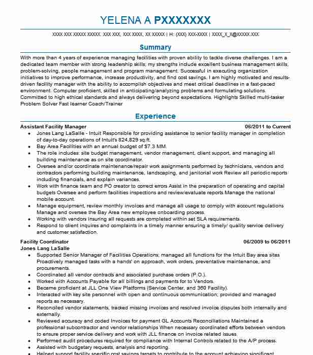 assistant facility manager resume example target specialty products