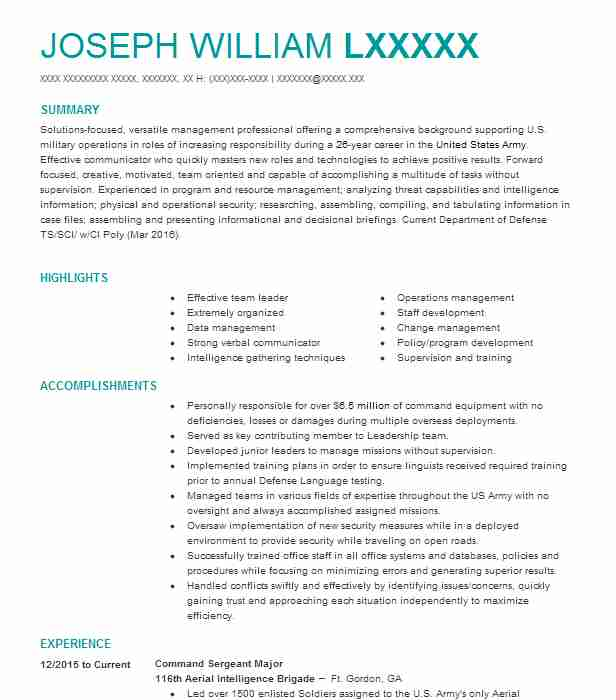 92300 Military Resume Examples Samples LiveCareer