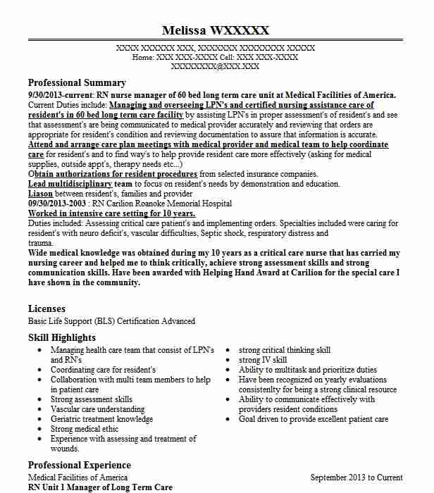 long term care  unit manager resume example kaleida health highpointe facility