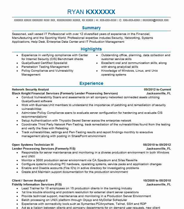 network security analyst resume sample