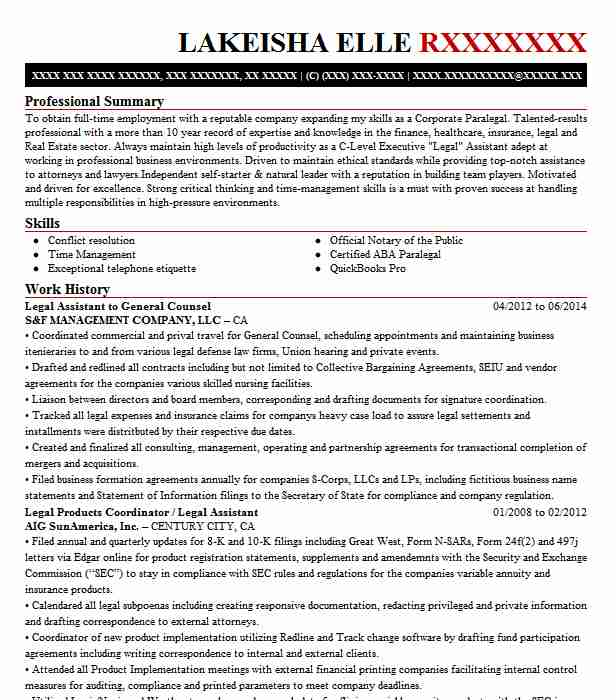 in house legal counsel resume example alberic  chrysler