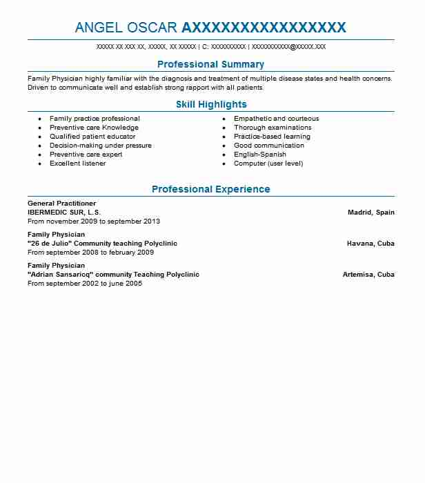 General Practitioner Resume Sample Resumes Misc Livecareer