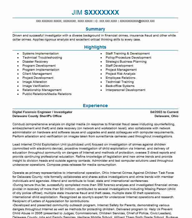Digital Forensic Analyst Resume Example Vestige Digital Investigations Brunswick Ohio