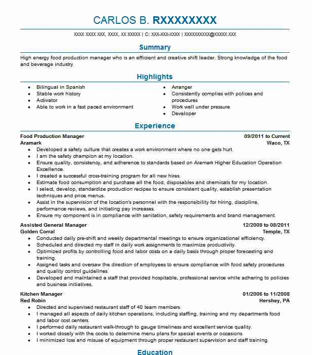 resume for food industry
