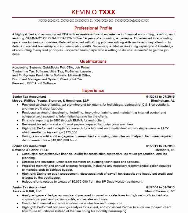 Senior Tax Accountant Resume Example Ernst And Young Llp Belmont