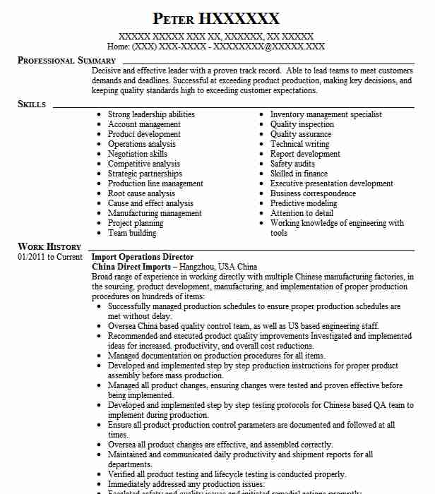 import operations manager resume example expeditrors