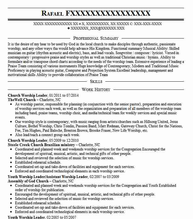 church worship leader resume sample