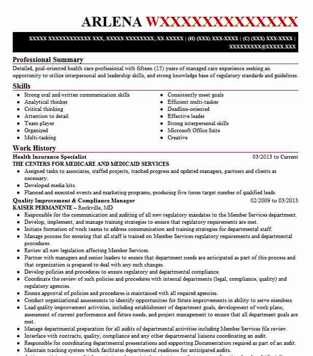 Health Insurance Specialist Resume Example Department Of