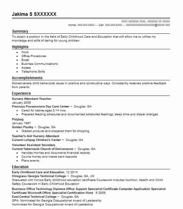 2 resumes matching daycare resume samples in douglas georgia nursery attendant teacher - Nursery Attendant Sample Resume