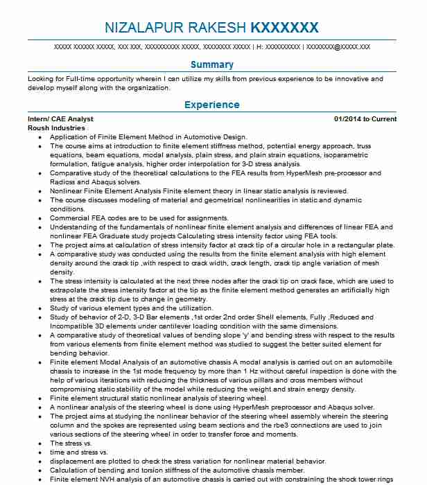 Cae Analyst Resume Example Nikitha Build Tech Ltd Kent Ohio