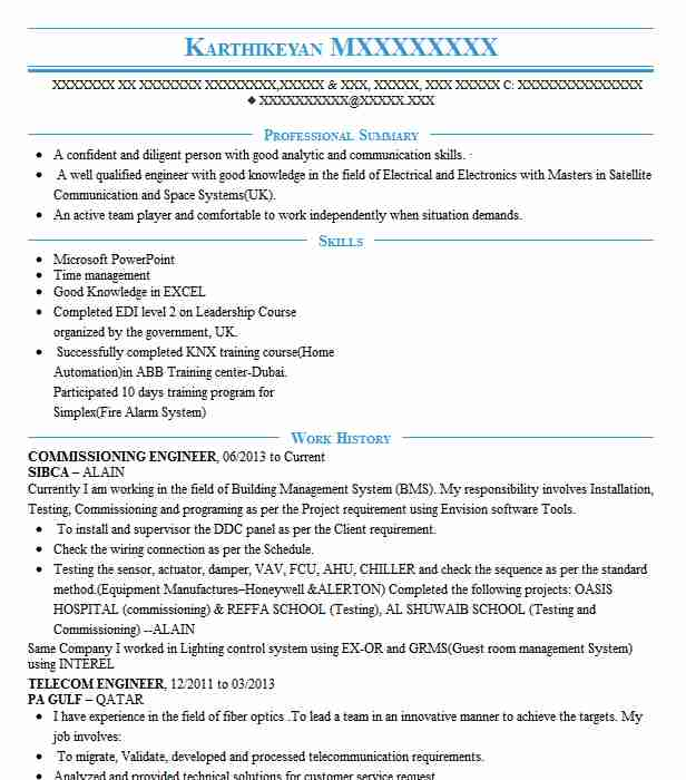 Commissioning Engineer Resume Sample | Technical Resumes ...