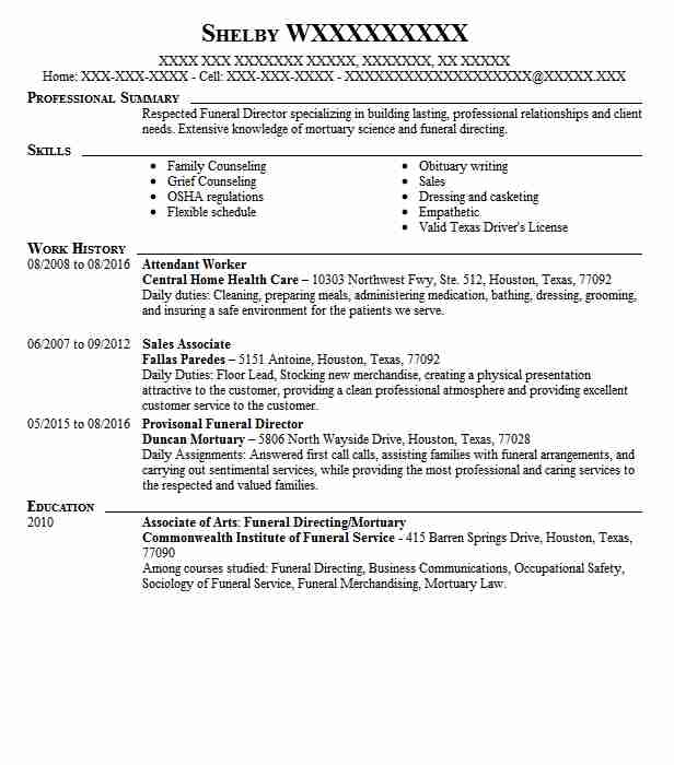 15 resumes matching funeral services resume samples in houston - Resume For Mortuary Science