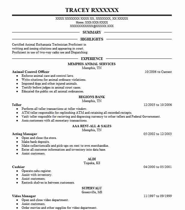 Animal Control Officer Resume Sample | Officer Resumes | LiveCareer