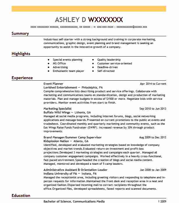 Best Event Planner Resume Example Livecareer