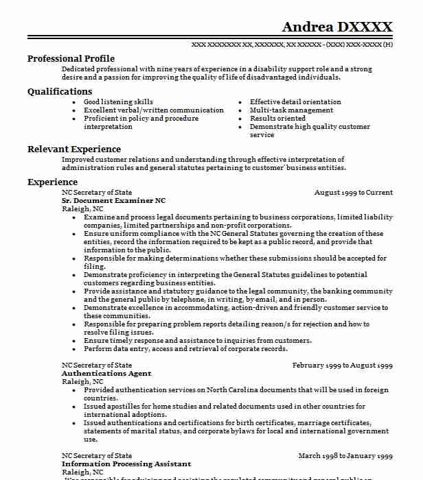 Forensic Document Examiner Resume Example Private Practice Portland Oregon
