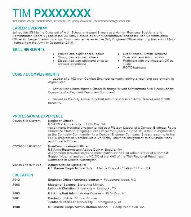 12A Engineer Officer Resume Example Guam Army National ...