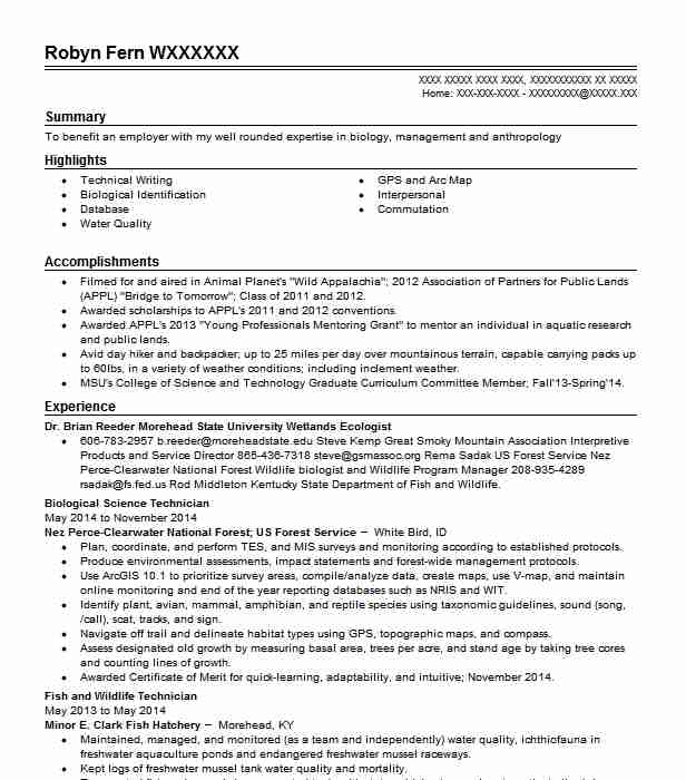 biological science technician resume sample