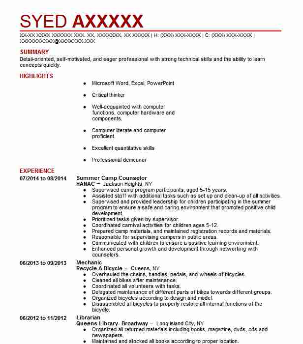 Responsibilities Of A Camp Counselor For Resume resume for eric brown Create My Resume