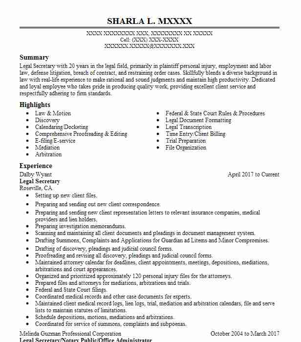 Similar Resumes  Sample Secretary Resume
