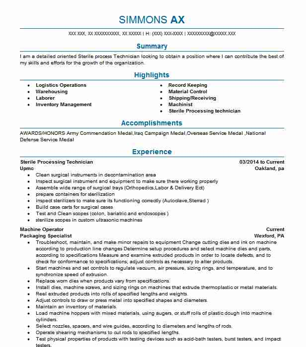 sterile processing technician resume sample