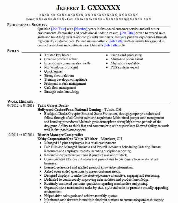 table games dealer resume example the lodge casino