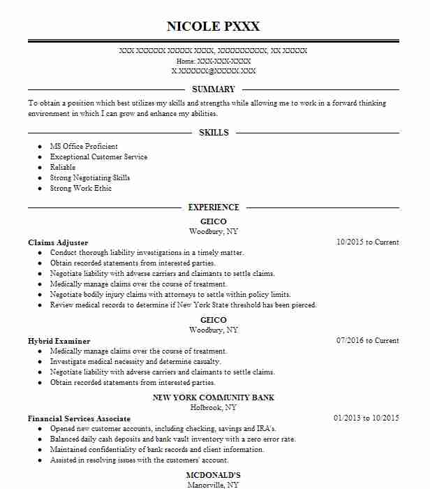 claims adjuster - Claims Adjuster Resume