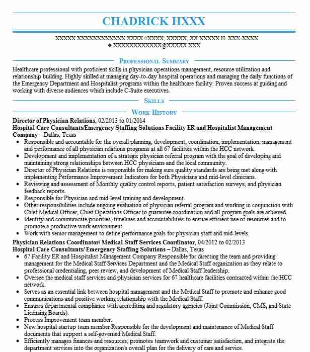 physician relations manager resume example orlando health uf health cancer center