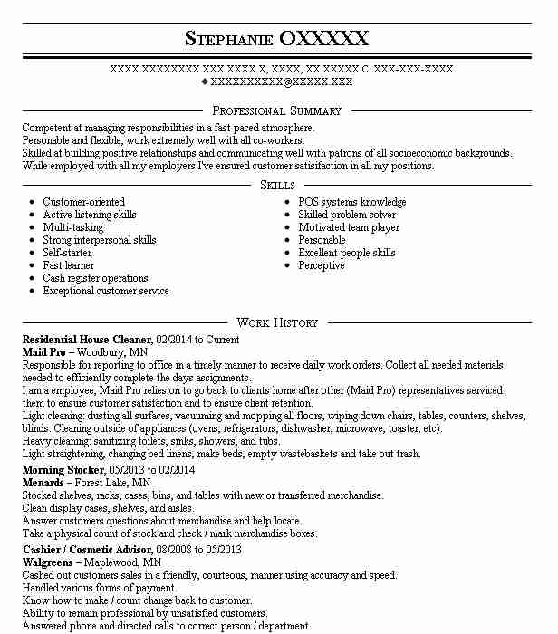 Cover Letter Strong Work Ethic: Best Residential House Cleaner Resume Example