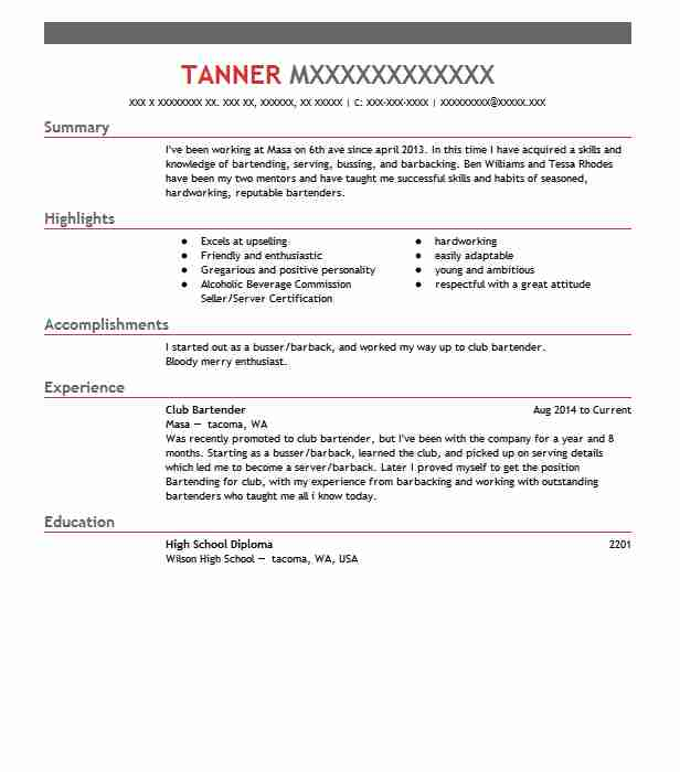 Club Bartender Resume Sample